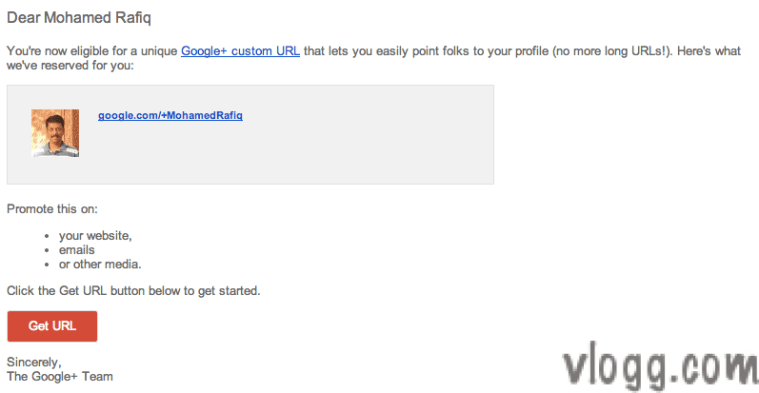 Google+ Custom URL Claim Email Notification