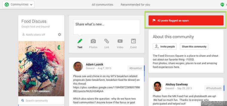 Google+ Communities Spam Posts Folder