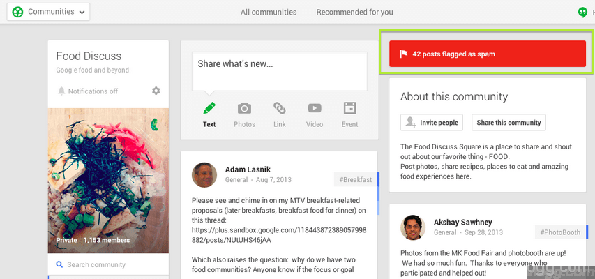 Google+ Communities Spam Posts Folder