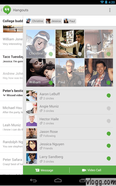 Google+ Hangouts App v1.6 Now Shows Who is Online [Images: Playstore]