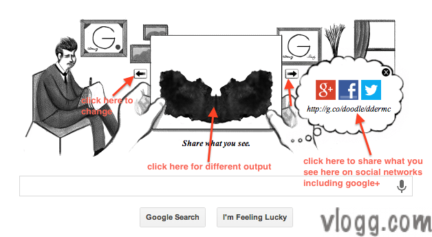 Google Doodle today features Inkblot Test remembering Hermann Rorschach
