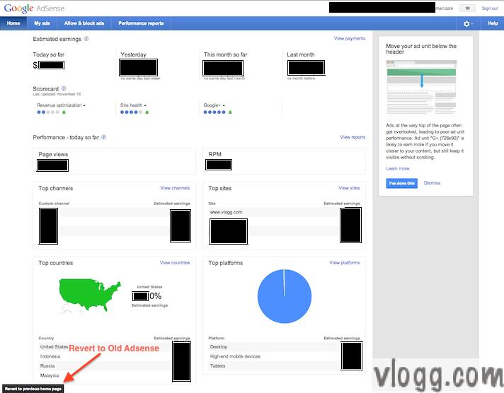 Google Adsense Home Page Tab Gets a Make Over!