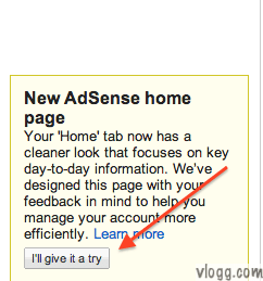 New Adsense Homepage Trial Notification
