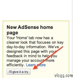 New Adsense Homepage Trial Notification
