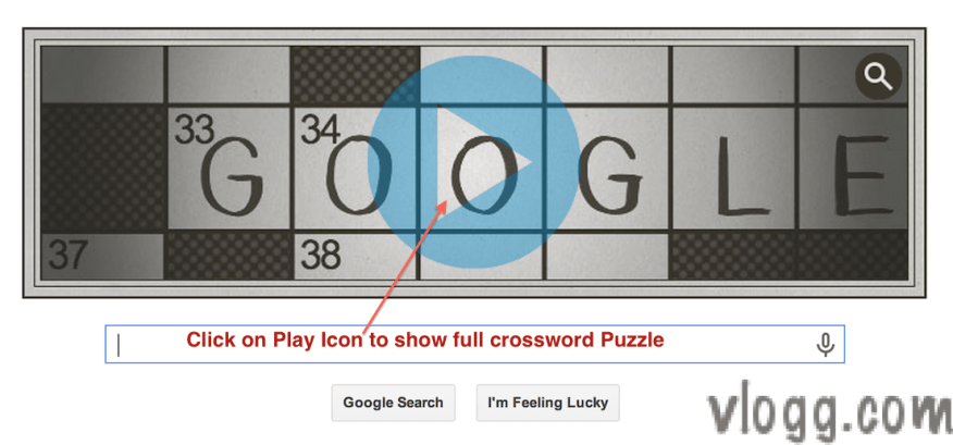 Crossword Puzzle Google Doodle honoring 100 Years since first publish [Images: vlogg.com]