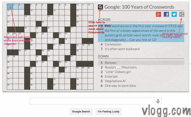 Crossword Puzzle Game Google Doodle Honoring 100 Years