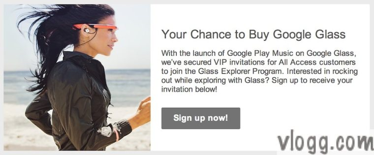 Google Glass Invitation Email for Google Play Music All Access Customers [Images: vlogg.com]
