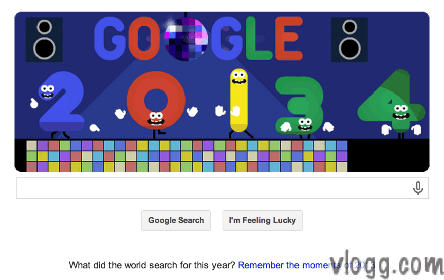 Google New Year's Eve 2013 / New Year 2014 Doodle Today