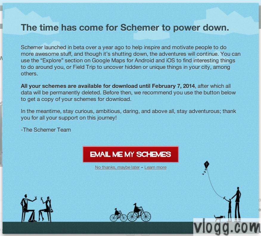 Google Schemer is Shutting Down on Feb 2014
