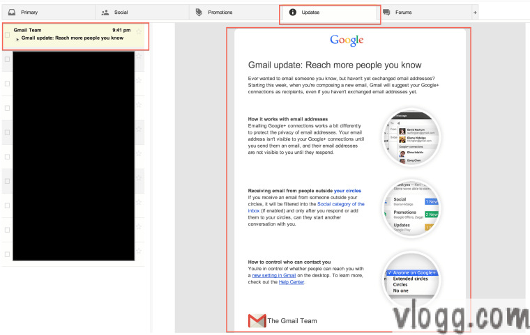 """Reach More People You Know"" Gmail Update Email [images: vlogg.com]"