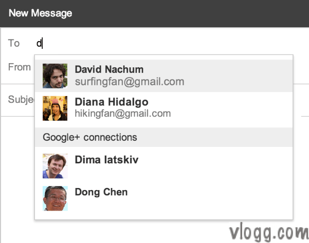 Google+ contacts in Gmail [images: gmail blog]