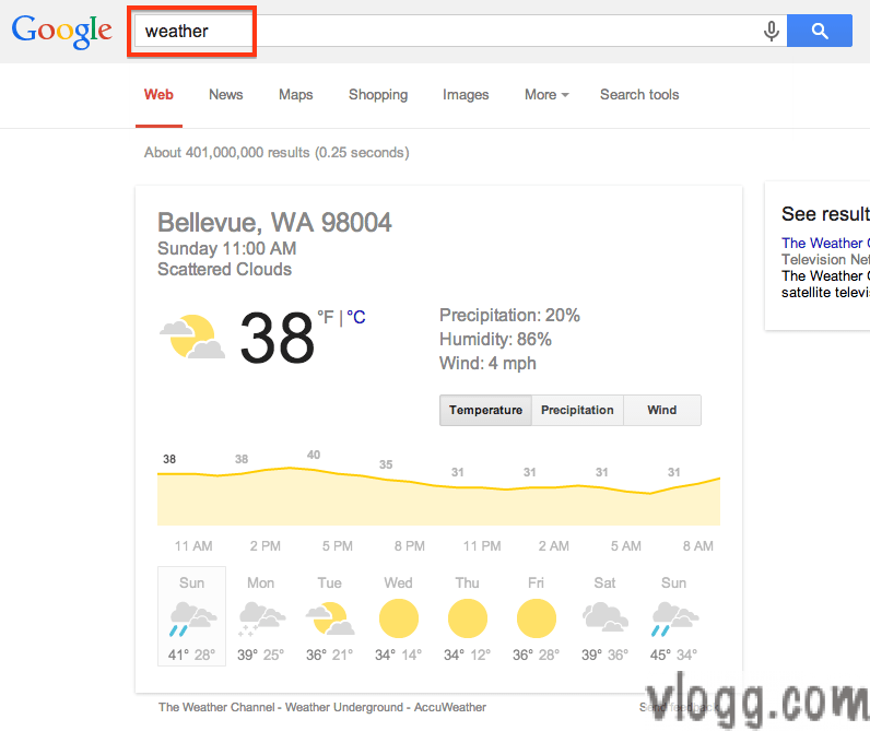 Find Local Weather through weather command on Google Search