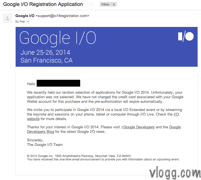 Google I/O non selection email notification