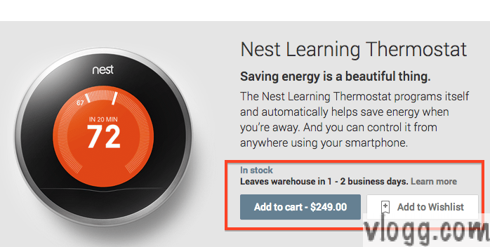 Nest Learning Thermostat available in stock and for sale in Google Play Store