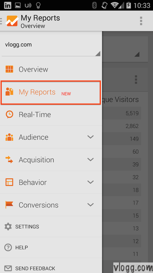 Google Analytics Android Mobile App with My Reports [images: vlogg.com]