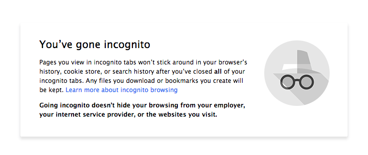 New update You've gone incognito message in Chrome 36 version