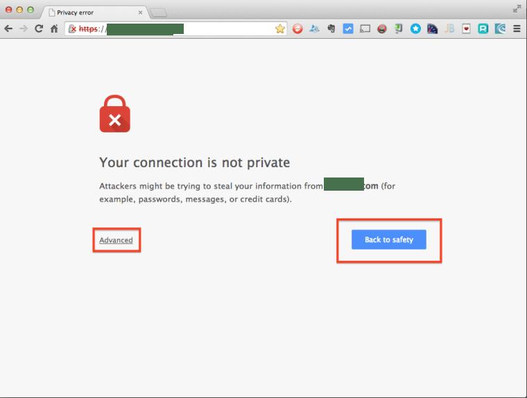 Chrome Certificate Privacy Error Page