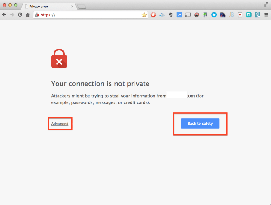 Chrome Certificate Privacy Error Page