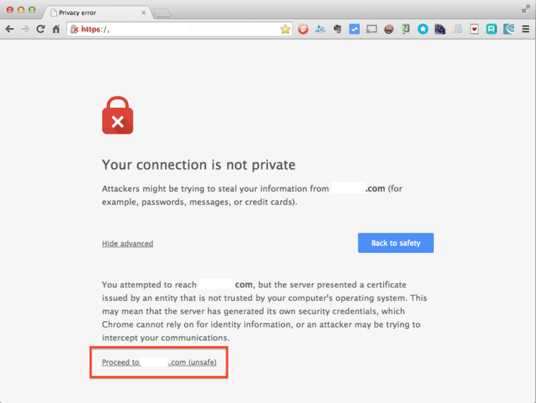 Chrome Browser Privacy Error Advanced Option