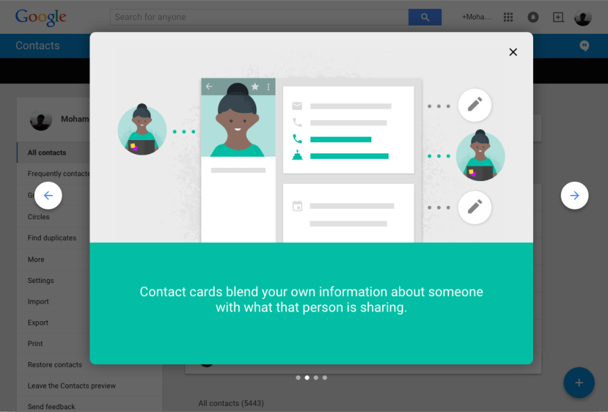 Google Contacts Card