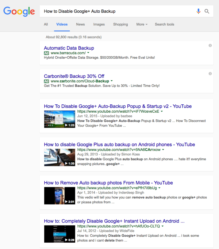 Google Videos Search Results as Cards
