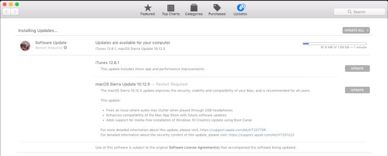 Mac Sierra 10.12.5 Release Update