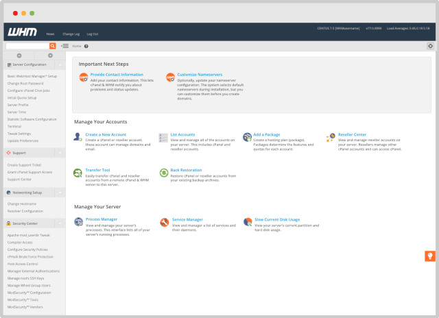WHM Interface For cPanel Resellers