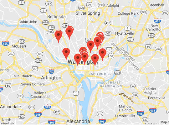 Map of institutions in Washington, DC