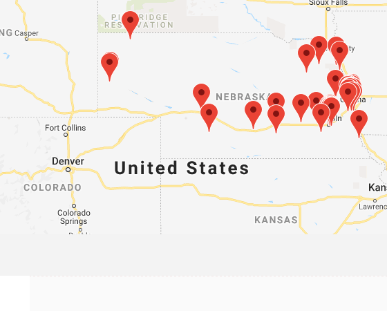 Map of institutions in Nebraska