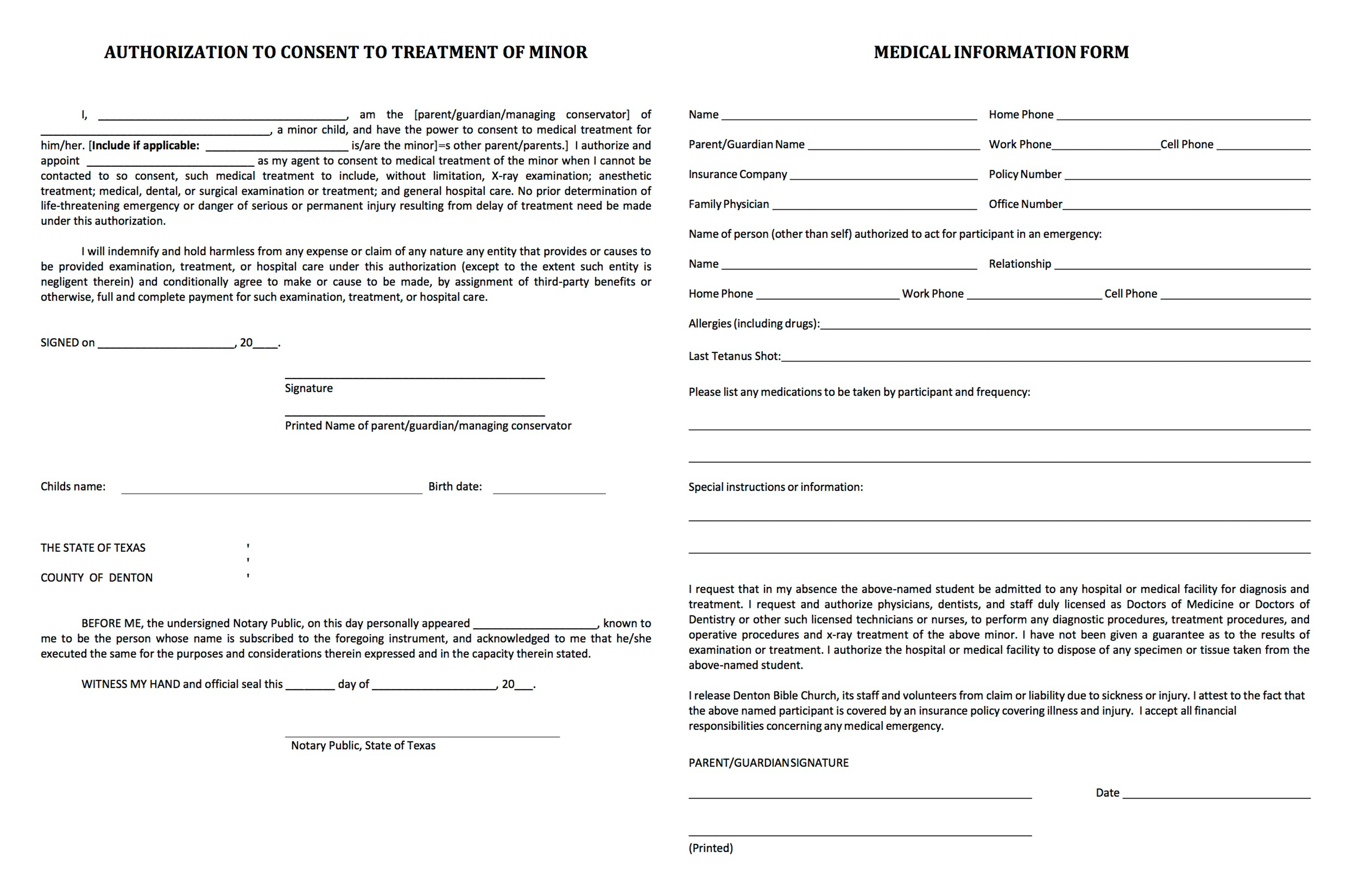 Medical Authorization. Medical Release Forms