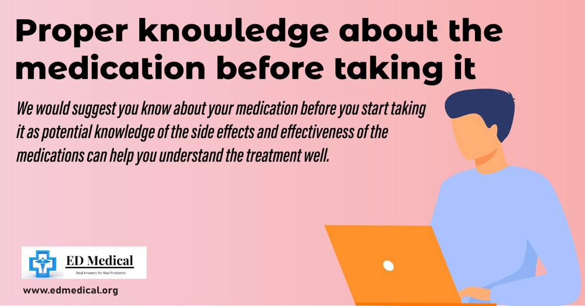 Proper knowledge about the medication before taking it