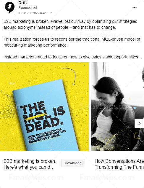 Drift - Ebook - MQL is dead - Facebook Ad