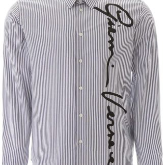 VERSACE GV SIGNATURE STRIPED SHIRT 40 Blue, White Faux leather