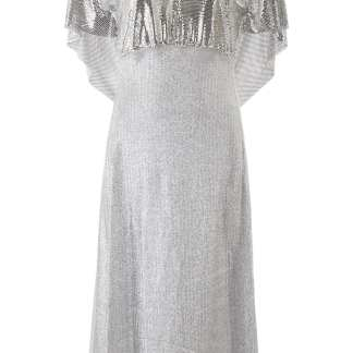 PACO RABANNE LUREX AND CHAINMAIL MIDI DRESS 36 Silver