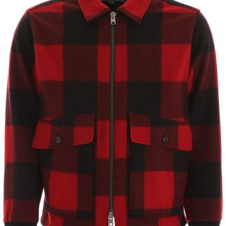 WOOLRICH CHECK JACKET S Red, Black Wool