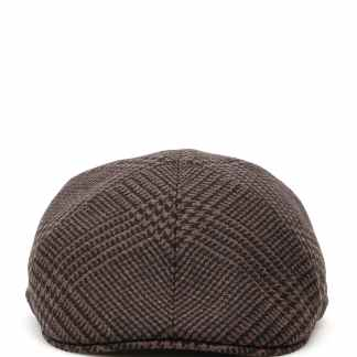 TAGLIATORE TARTAN DONALD FLAT CAP 60 Brown, Black Wool
