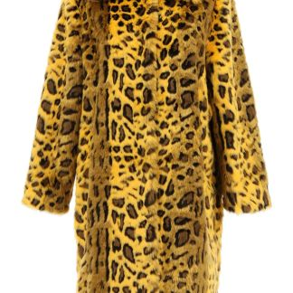 STAND MAXINE LEOPARD ECO-FUR COAT 36 Yellow, Black Faux fur