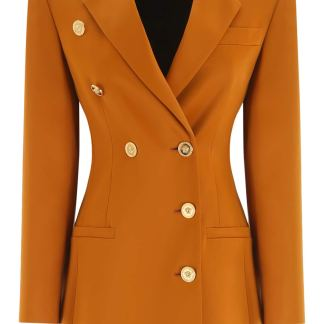 VERSACE DOUBLE-BREASTED BLAZER 40 Brown, Yellow