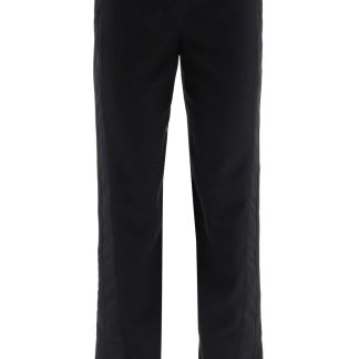 LANVIN TROUSERS WITH SATIN BANDS 36 Black Wool