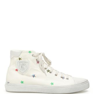 SAINT LAURENT BEDFORD HI TOP SNEAKERS 39 White Leather, Cotton