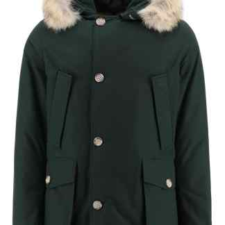 WOOLRICH ARCTIC PARKA WITH COYOTE FUR M Green Technical, Fur, Cotton