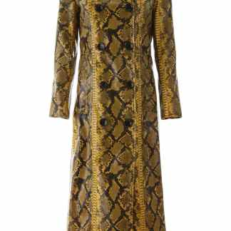 STAND PYTHON PRINT SASHA OVERCOAT 38 Yellow, Black