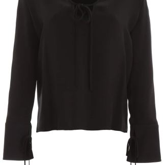 STELLA McCARTNEY TOP WITH LACES 38 Black Silk