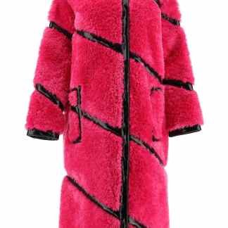 STAND CLEO ECO-FUR COAT 34 Fuchsia, Black Faux fur