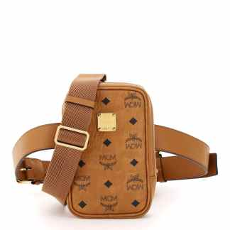 MCM KLASSIK VISETOS MINI BELT BAG OS Brown, Black Cotton, Leather