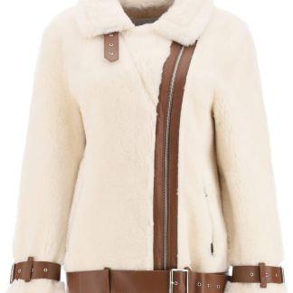 STAND FAUX FUR JACKET 34 White, Brown Wool