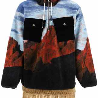 PALM ANGELS CANYON FLEECE JACKET S Orange, Light blue, Black