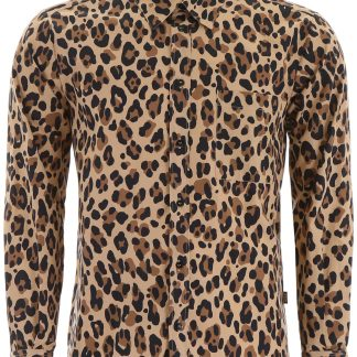MSGM LEOPARD-PRINTED SHIRT WITH LOGO 40 Brown, Black, Beige Cotton