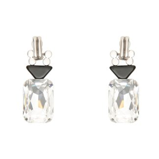 SAINT LAURENT SMOKING EARRINGS OS Silver, Black
