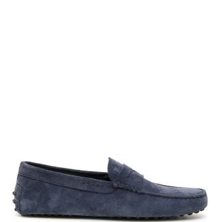 TOD'S SUEDE GOMMINO LOAFERS 6 Blue Leather
